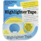 Lee Products Highlighter Tape 3-line .50 X 393 Inches Yellow 1 Roll