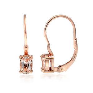 18K-Rose-Gold-over-Sterling-Silver-Morganite-Oval-Leverback-Earrings