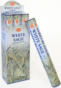 LOT OF 60 Sticks WHITE SAGE Incense HEM 3 TUBE OF 20 Sticks = 60 STICKS
