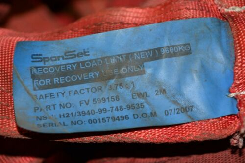 Ex Army 2M 9.6 Ton Recovery Strop Ideal 4X4 Off Road