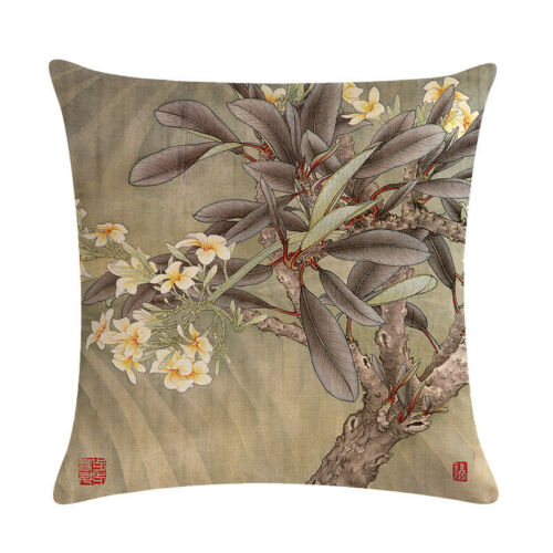 """18/"""" Chinese Peony Flower Bird Seat Cushion Cover Car Sofa Decoration Pillow Case"""
