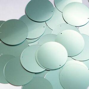 Round Sequin 24mm Seafoam Blue Green Matte Satin Transparent Loose Couture Paillettes