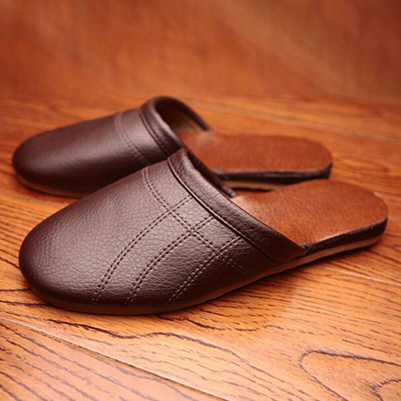 Mens Comfortable Slippers Leather Closed Toe Indoor Flats Slippers House Shoes