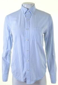 J-CREW-Womens-Shirt-Size-10-Small-Blue-Striped-Cotton-Slim-Fit-Oxford-Lowky