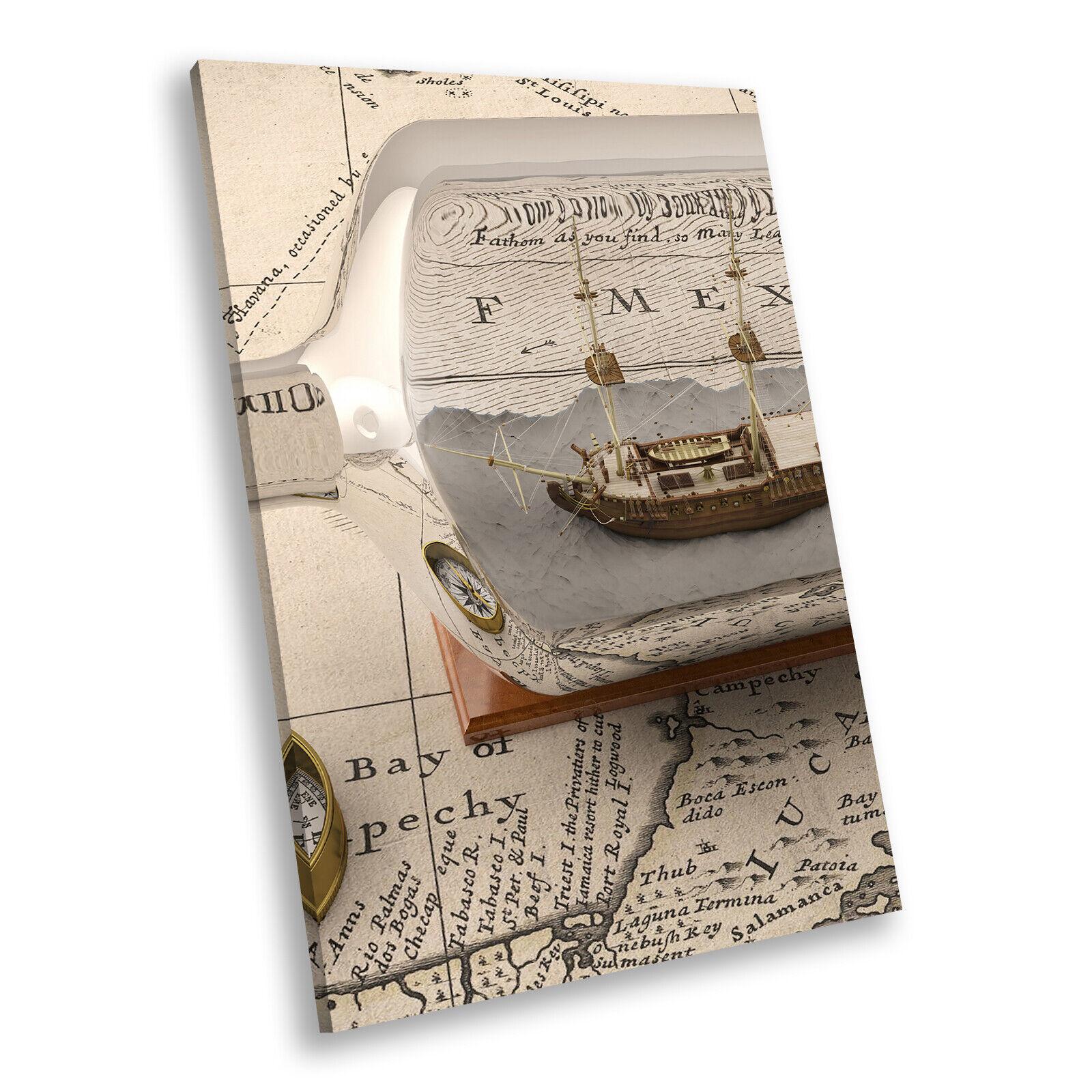 Vintage Map Ship Bottle Cool Portrait Scenic Canvas Wand Kunst Bild Druckens