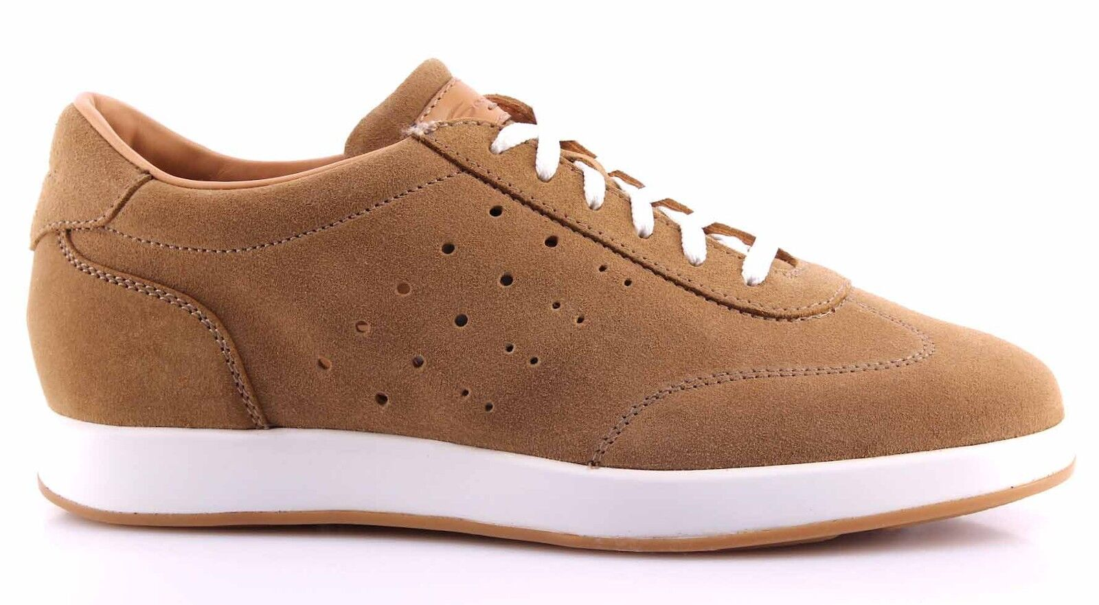 Men's Shoes Made Sneakers SANTONI Suede Brown Top Quality Luxury Made Shoes In Italy New 1c14a3
