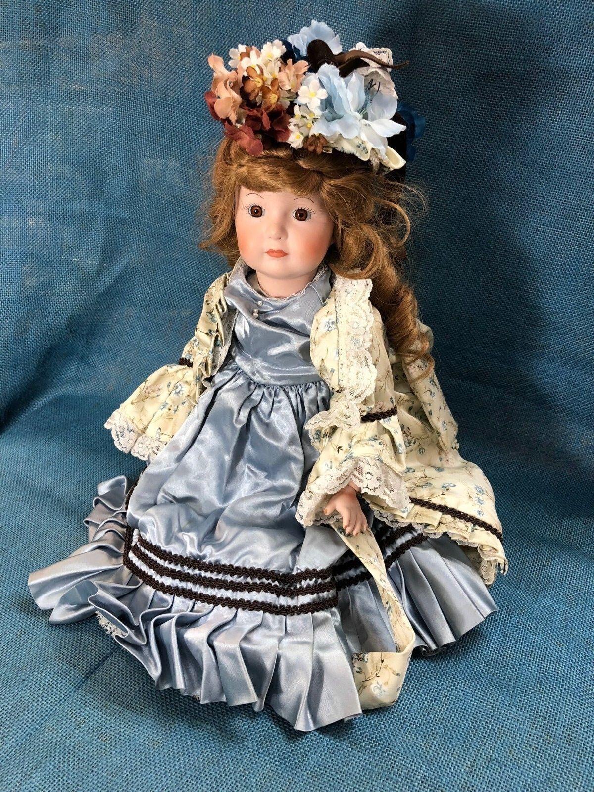 1984 20  Porcelain Doll in Floral Satin Kleid