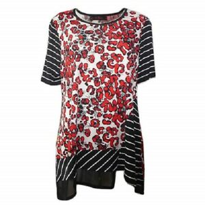 Tunic-Top-by-SUN-ROSE-Plus-Size-14-16-18-20-22-24-Black-Red-Animal-Print
