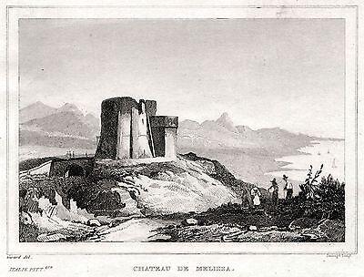 Steel engraving Baia: Tempio di Venere e Castello Passepartout 1838 Bacoli