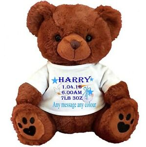 "PERSONALISED BROWN  TEDDY BEAR 25CM/10"" SITTING  NEW BORN STORK PAGE BOY"
