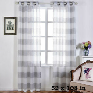 "2 Silver 52/"" x 64/"" Lattice Geometric Thermal Grommet Window CURTAINS Light Gray"