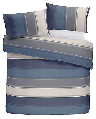 Klassisch Breite Streifen Blau Grau Creme-baumwolle Mischung GüNstigster Preis Von Unserer Website Möbel & Wohnen Bettwäsche