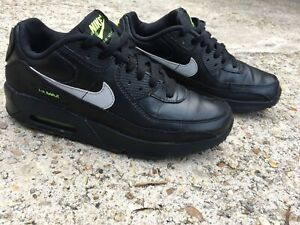 Nike-air-max-90-boys-gs-leather-running-black-Green-Sneakers-Shoes-Size-6-5y