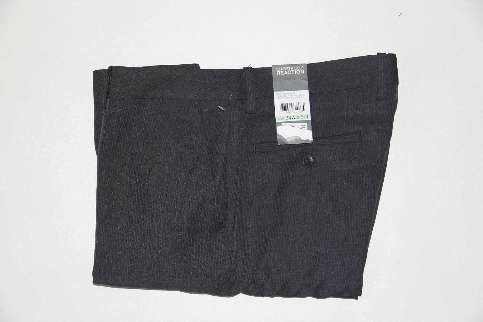 New Kenneth Cole Charcoal Men's 34x30 Flat Front Pinstripe Dress Pants