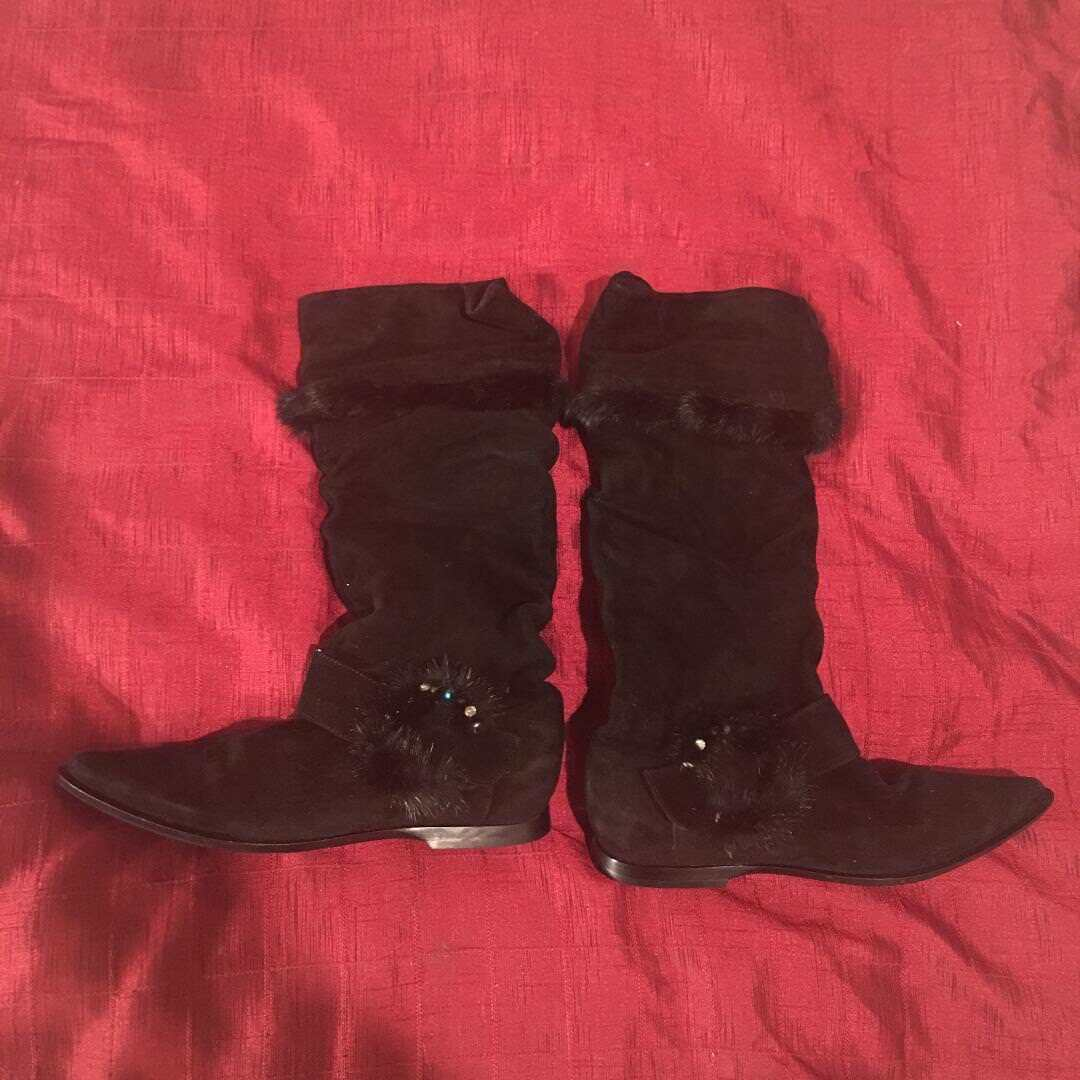 Baldinini Suede Fur Italian Boots 38 New. These boots are absolutely stunning!