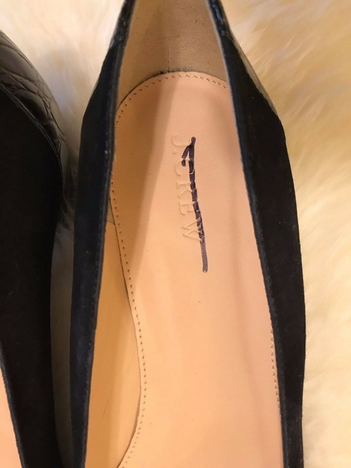 NEW J. CREW SUEDE HEEL PUMPS WITH STAMPED CROC HEEL SUEDE IN BLACK SZ 9.5 198 G8170 c70120
