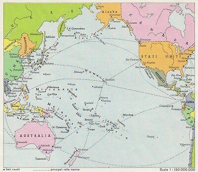 Cartina Oceano Pacifico.C2966 Oceano Pacifico Mappa D Epoca 1943 Vintage Map Ebay