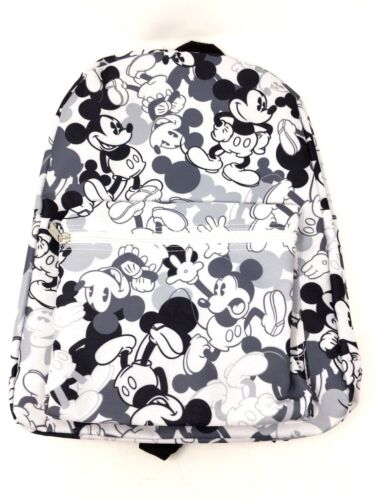 """Disney Mickey Mouse Black and WHITE 16/"""" Vintage Design Large School Backpack"""