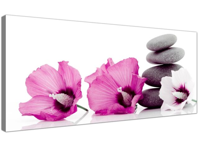 Pink Extra large Canvas Picture of Flowers for Bedroom 1069