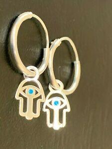 Sterling Silver Hamsa Hand Blue Evil Eye Earrings Fatima MatiNazar Sleeper Hoops