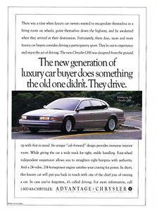 1993 Chrysler Lhs Luxury Classic Car Advertisement