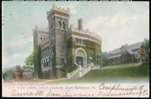 SOUTH-BETHLEHEM-PA-Lehigh-University-Library-Antique-Rotograph-Postcard-Vtg-PC
