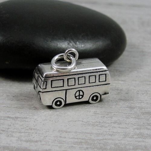 Hippy Love Peace Van Pendant NEW 925 Sterling Silver VW Hippie Bus Charm