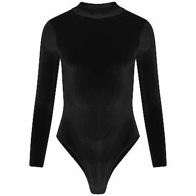 Womens Ladies Long Sleeve Turtle Polo Neck Velvet Velour Bodysuit Leotard Top