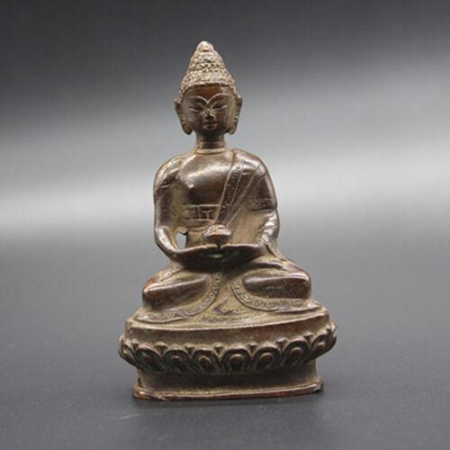 Lindo Antigo Tibete Budismo Tibetano Bronze Buda Estátua Exorcismo Paz Riqueza