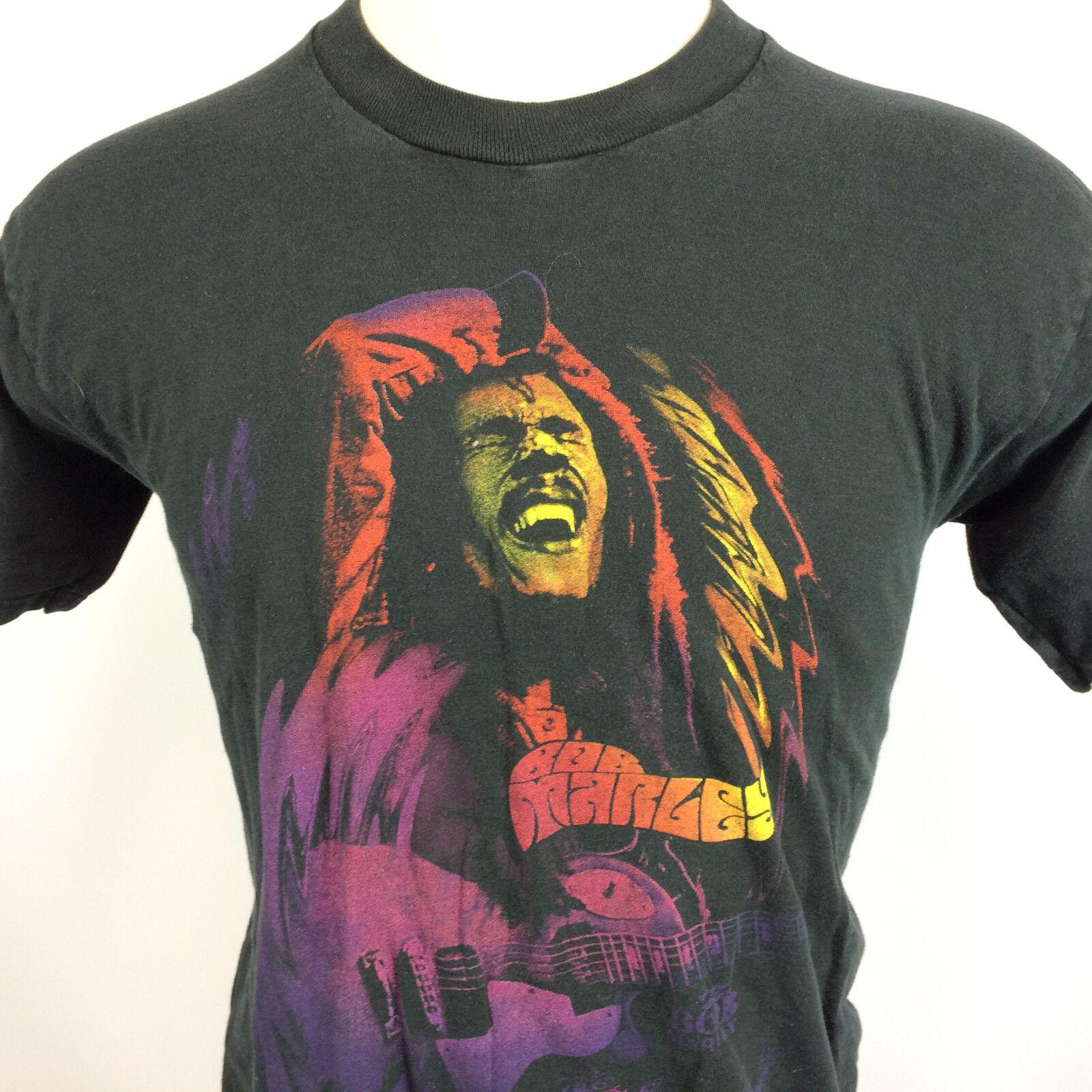 Vintage Bob Marley Distressed 1990's T Shirt Tour Concert Reggae Music Rasta