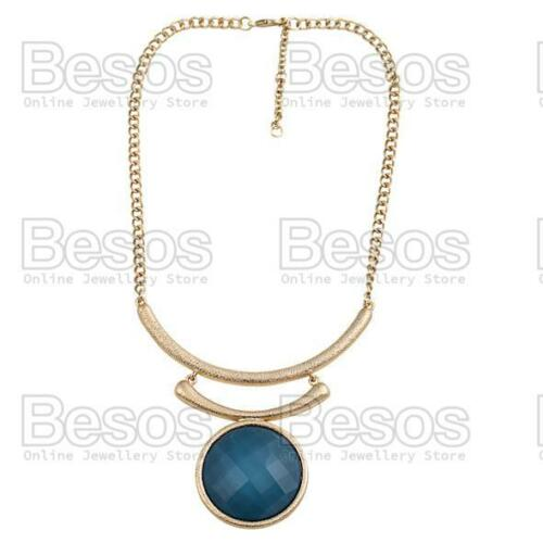 ROUND PENDANT faceted LARGE COLLAR NECKLACE gold fashion RED//GREEN//BLUE//BLACK