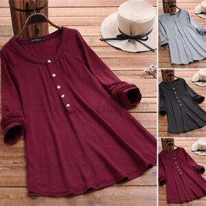 Mode-Femme-Simple-Loisir-Col-V-Boutons-Manche-Longue-Coupe-slim-Haut-Shirt-Plus