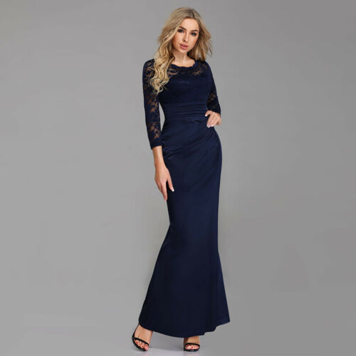 Ever-Pretty UK Plus Size Formal Evening Gowns Long Sleeve Prom Party Dress 07584