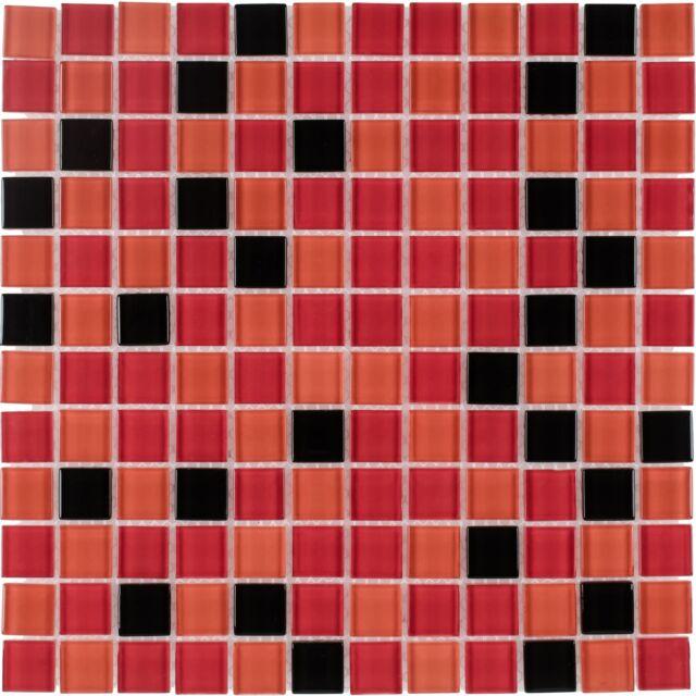 Merveilleux Modern Square Black Orange Red Glass Mosaic Tile Backsplash Kitchen Wall  MTO0375
