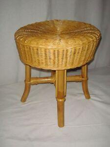 rattan hocker neu farbe honig rund vier f sse ebay. Black Bedroom Furniture Sets. Home Design Ideas