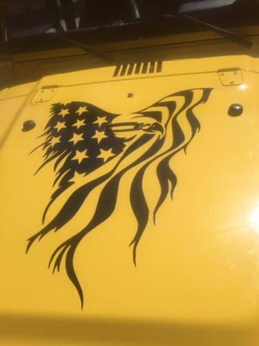 """American eagle Flag Hood Decal large 24/"""" vinyl graphic USA fits jeep truck car"""