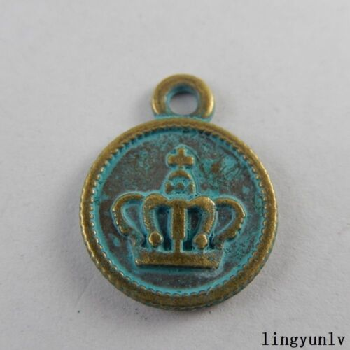 50928 Green Bronze Alloy Round Crown Shape Pendants Charms Findings Crafts 40x
