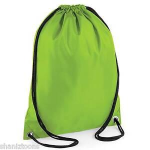 57dfa21b70ce x10 Lime Green Drawstring Gym Sports School PE Bag Bulk Buy Job Lot ...