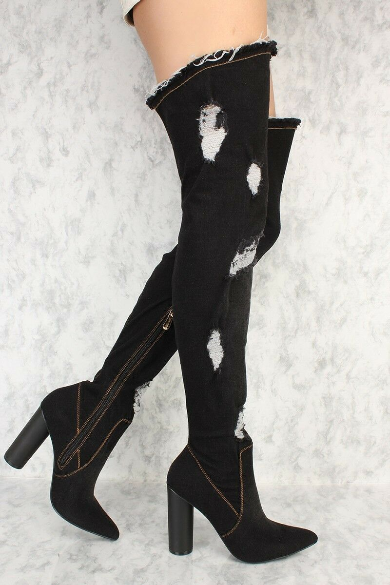 LOT BUCKLE ACCENT ACCENT ACCENT KNEE THIGH HIGH BOOTS FAUX LEATHER SOCK FRINGE DENIM SUEDE 551069