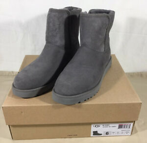 UGG Gray Leather Sheep Skin Wool Lined Cory Boots Size 6