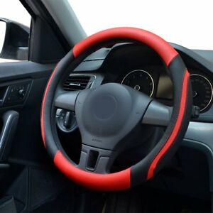 Car-steering-wheel-cover-Breathable-Micro-Fiber-Leather-material-38MM-Red-N