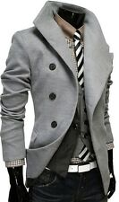 US SELLER Men's Gray Peacoat Single Breasted Dress Jacket Pea Coat M