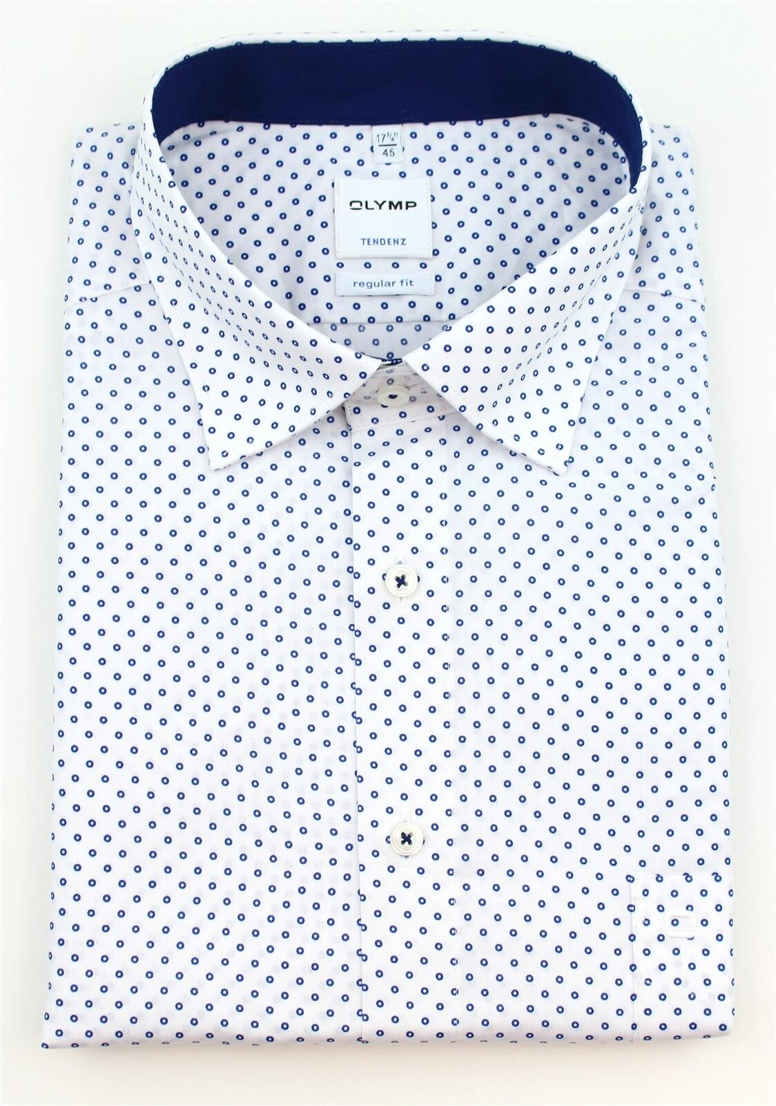 White Geometric Spread Collar