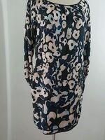 DVF Diane von Furstenberg River leopard 95% Silk Long Sleeve Tunic  Dress Sz 4