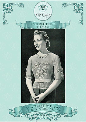 Vintage 1930s crochet pattern for very pretty irish rose flowers jumper jacket