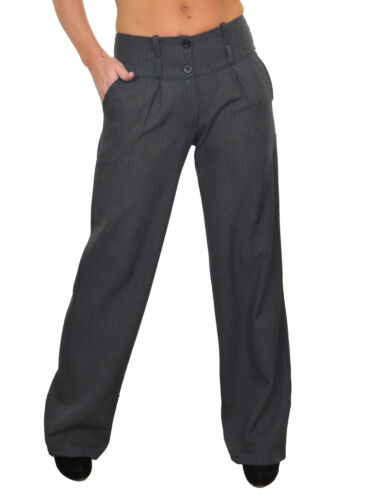 NEW Business Wide Leg Smart Trousers Feint Pinstripe Grey 10-22 1402-3