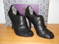 Isola Womens Black Leather Open Toe Heels 10 M Shoes Nwb