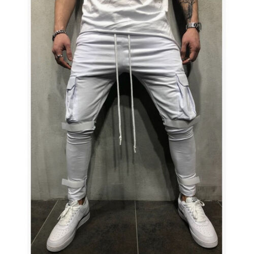 Mens Gym Joggers Trousers Bottoms Tracksuit Skinny Sweat Track Slim Fit Pants M
