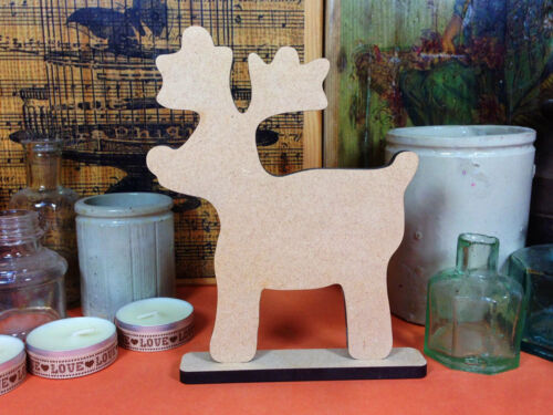 WOODEN MDF FREESTANDING REINDEER 15cm  wood shape decoration xmas craft