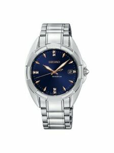 Seiko Womens Diamond Accent Stainless Steel Blue Dial Watch SKK889P1 New In Box